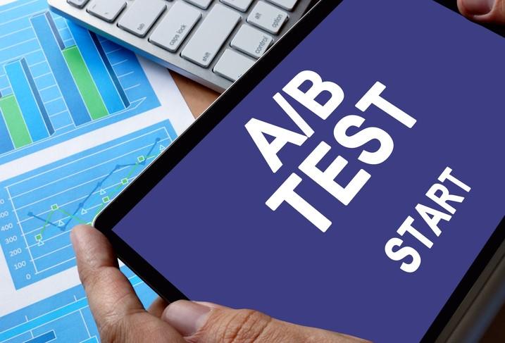 Tablet computer running A/B test
